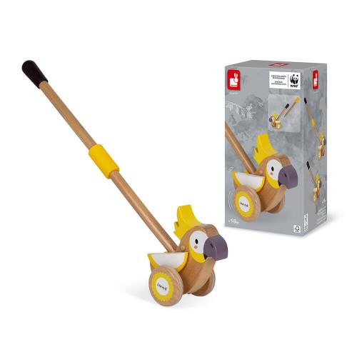 Cacatoès à pousser en bois partenariat WWF, développer la motricité, jeu d'éveil, marche, pour enfant dès 18 mois JANOD