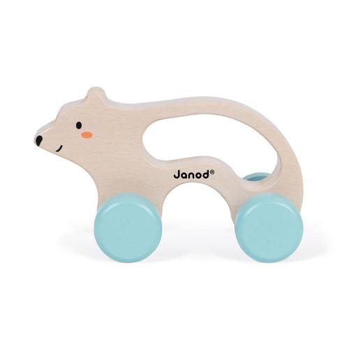 Ours à promener en bois FSC partenariat WWF, développe la motricité, marche, jouet d'éveil, pour enfant dès 12 mois JANOD