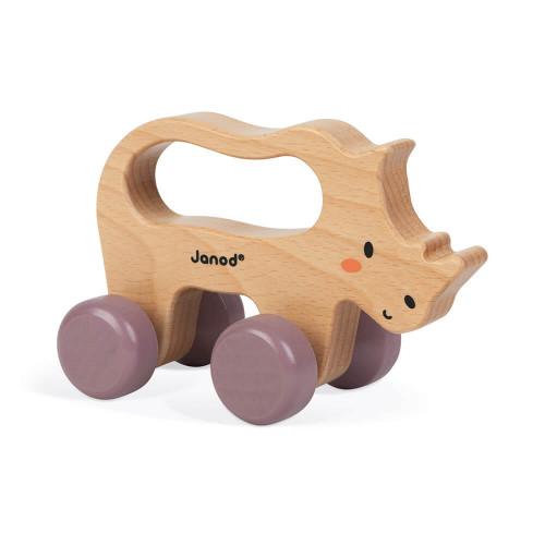 Rhino à promener en bois FSC partenariat WWF, motricité, marche, jouet d'éveil, pour enfant dès 12 mois JANOD