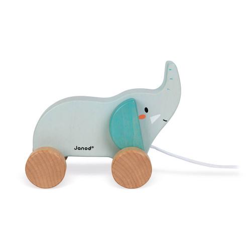 Eléphant à promener en bois FSC partenariat WWF, marche, motricité, jouet d'éveil, pour enfant dès 12 mois JANOD