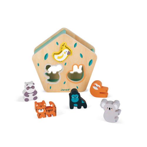Boîte à formes des animaux en bois FSC partenariat WWF, jeu d'encastrement, manipulation, dextérité, logique, pour enfant dès 18