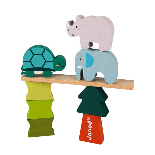 Jeu les animaux équilibristes en bois FSC partenariat WWF, développe l'adresse, manipulation, dextérité, jeu en famille, pour en