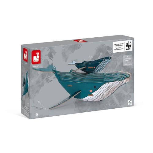 Puzzle Baleine 3D à assembler en carton partenariat WWF, jeu de construction, 43 pièces, pour enfant dès 6 ans JANOD