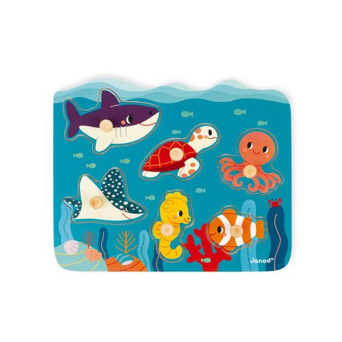 Puzzle à tenons en bois FSC animaux marins partenariat WWF, 6 pièces, développe la motricité, manipulation, imagination, premier