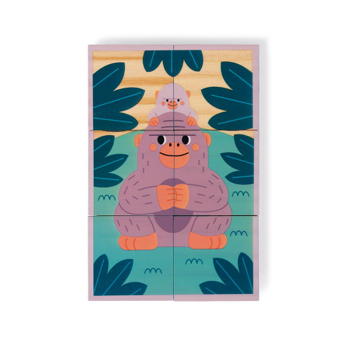 Cubes en bois FSC animaux partenariat WWF, jeu d'éveil, premier âge, jeu d'observation, dextérité, manipulation, pour enfant dès