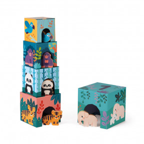 Cardboard Tower with Wooden Animal Figures In partnership with WWF®