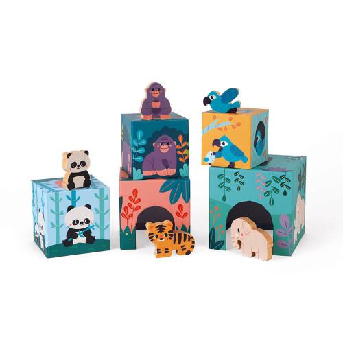 Pyramide en carton et figurines en bois FSC les animaux partenariat WWF, jeu de manipulation, jouet d'éveil, premier âge, pour e