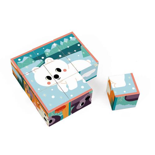 Cubes en carton FSC animaux partenariat WWF, jeu de manipulation, jouet d'éveil, pour enfant dès 2 ans JANOD