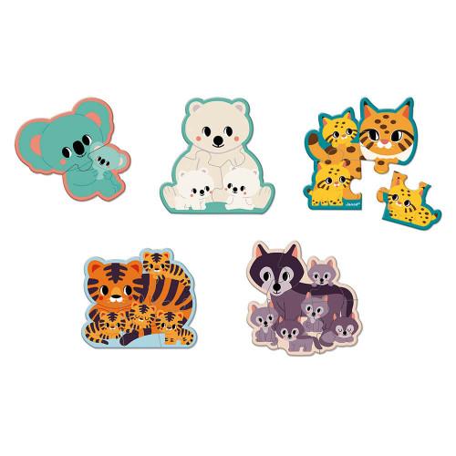Puzzles évolutifs animaux 2-3-4-5-6 pièces partenariat WWF, en carton FSC, made in France, plusieurs niveaux de difficultés, man