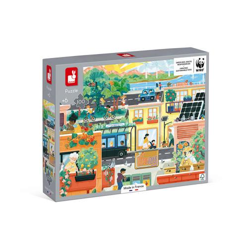 Puzzle ville verte 100 pièces partenariat WWF, carton FSC, made in France, développe la motricité fine, concentration, manipulat