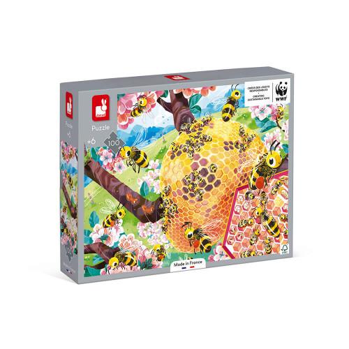 Puzzle la vie des abeilles 100 pièces partenariat WWF, carton FSC, made in France, développe la motricité fine, concentration, m