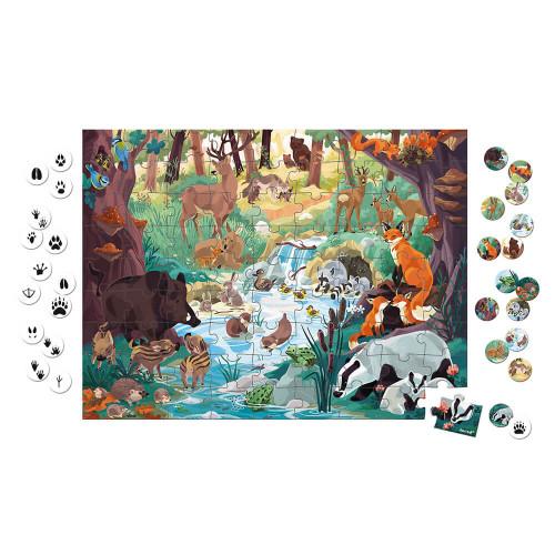 Puzzle les empreintes des animaux 81 pièces partenariat WWF, carton FSC, made in France, motricité fine, concentration, pour enf