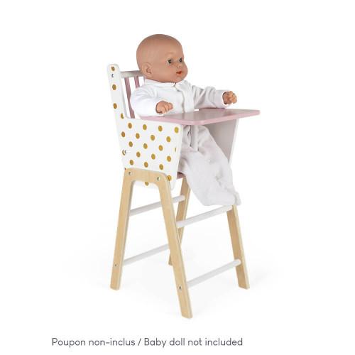 Chaise Haute Candy Chic en bois pour poupon rose blanc enfant à partir de 3 ans
