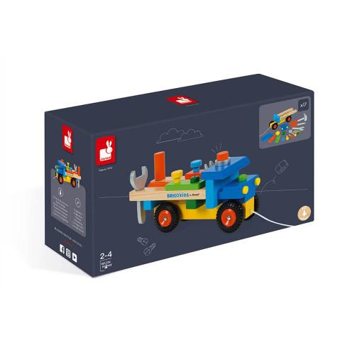 Camion de bricolage en bois, véhicule, jouet à promener, à tirer, outils, éveil motricité pour enfant à partir de 2 ans JANOD