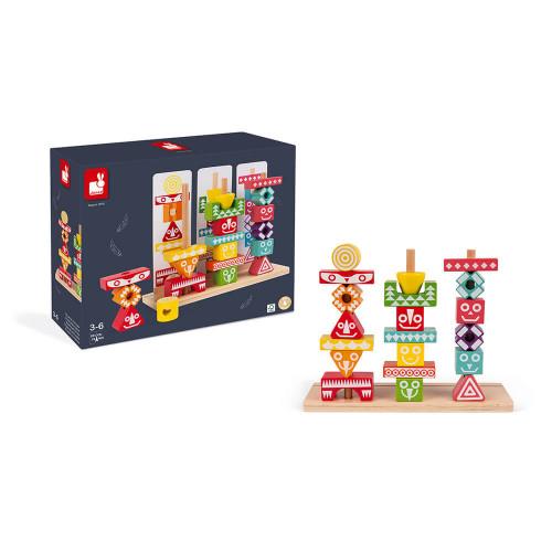 52 pièces à empiler Edutotem en bois FSC, motricité, blocs couleur, pour enfant à partir de 3 ans JANOD