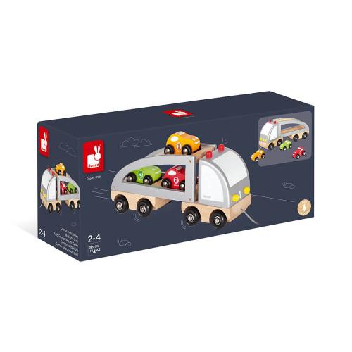 Camion multi bolides en bois, véhicule, voitures, jouet à tirer, à promener, pour enfant à partir de 2 ans JANOD