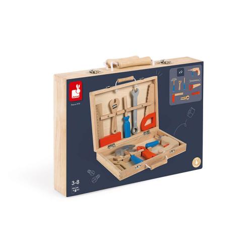 Boite à outils Brico'Kids en bois, mallette bricolage, imitation, 9 accessoires, pour enfant à partir de 3 ans JANOD