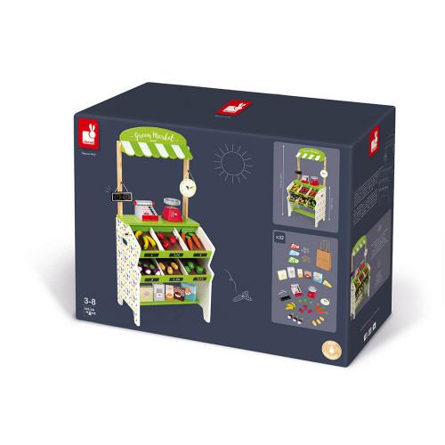 Épicerie Green Market en bois 32 accessoires marchande vert blanc pour enfant à partir de 3 ans
