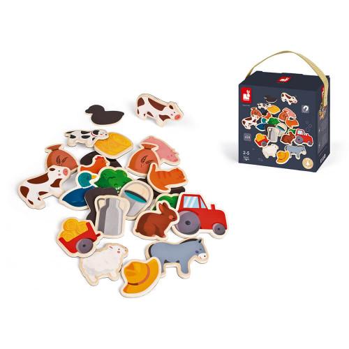 Magnets 24 pcs - Ferme (bois)