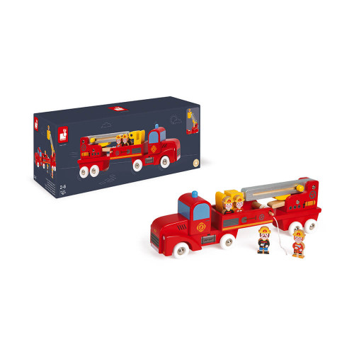 Story - Camion de Pompiers Géant en bois, véhicule, échelle, figurines, rouge, pour enfant à partir de 2 ans JANOD