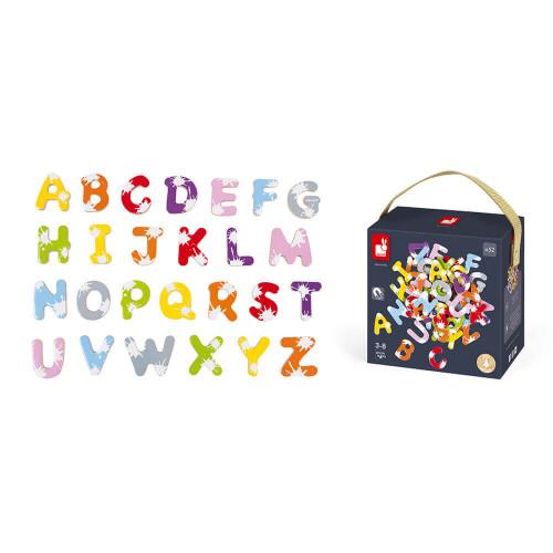 Malette 52 lettres magnétiques Splash en bois, alphabet, aimants, multicolore, tableau, pour enfant à partir de 3 ans JANOD