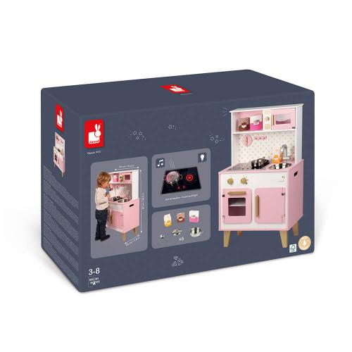 Grande Cuisine Candy Chic en bois sonore et lumineuse rose 6 accessoires enfant à partir de 3 ans