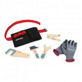 DIY tool belt with wooden tools and gloves -