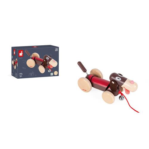 Chien à promener en bois, développer la motricité, jouet d'éveil, jouet rigolo, pour enfant dès 18 mois JANOD