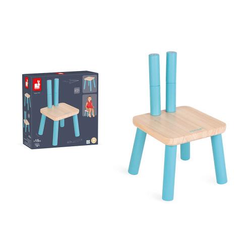 Chaise évolutive en bois, pieds réglables, fonction chaise et tabouret, pour enfant dès 18 mois JANOD