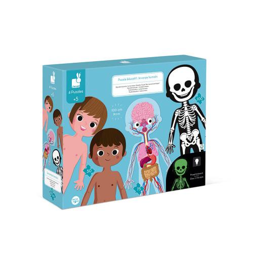Puzzle éducatif géant en carton Le Corps Humain, squelette, muscles, organes, science, pour enfant dès 5 ans JANOD