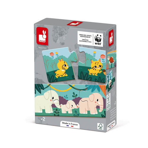 Jeu d'association puzzle animaux 30 pièces partenariat WWF, certifié FSC, made in France, manipulation, logique, pour enfant dès