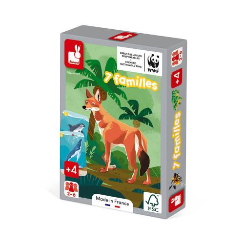 Jeu de 7 familles le règne animal partenariat WWF, certifié FSC, made in France, jeu de cartes, pour enfant dès 4 ans JANOD