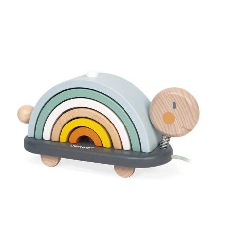 Tortue Arc-en-ciel Sweet Cocoon en bois, jouet à tirer, éveil motricité, à empiler, pour enfant à partir de 12 mois JANOD