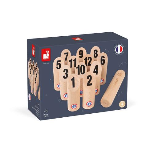 Jeu de quilles en bois, fabriqué en France, plein air, sport, motricité, molkky, pour enfant dès 5 ans JANOD