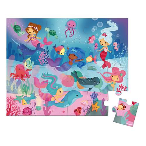 Puzzle les sirènes en carton FSC, 24 pièces avec valisette, encre végétale, made in France, pour enfant dès 3 ans JANOD