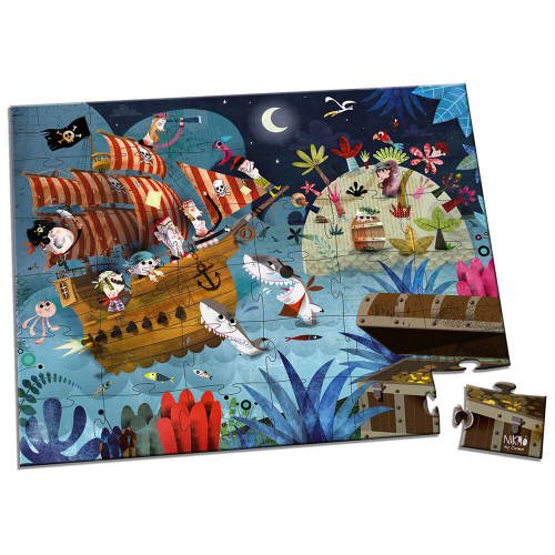 Puzzle la chasse au trésor en carton FSC, 36 pièces avec valisette, encre végétale, made in France, pour enfant dès 4 ans JANOD