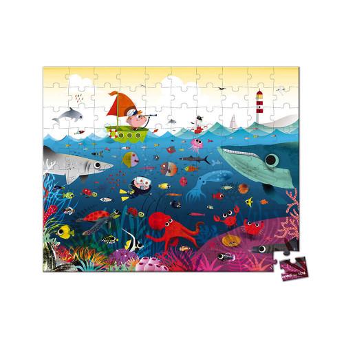 Puzzle le monde sous-marin en carton FSC, 100 pièces avec valisette, encre végétale, made in france, pour enfant dès 6 ans JANOD