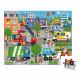 Puzzle city en carton FSC, 36 pièces avec valisette, encre végétale, made in france, pour enfant dès 4 ans JANOD