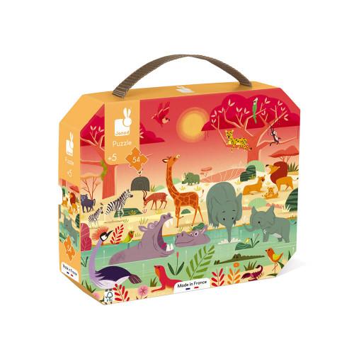 Puzzle la réserve animalière en carton FSC, 54 pièces, encre végétale, made in france, pour enfant dès 5 ans JANOD
