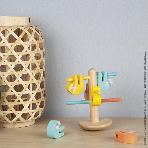 Jeu d'équilibre et des couleurs paresseux en bois FSC partenariat WWF, adresse, logique, dextérité, pour enfant dès 2 ans JANOD