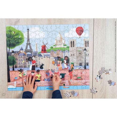 Puzzle Paris en carton FSC, 200 pièces, avec valisette, encre végétale, made in france, pour enfant dès 7 ans JANOD