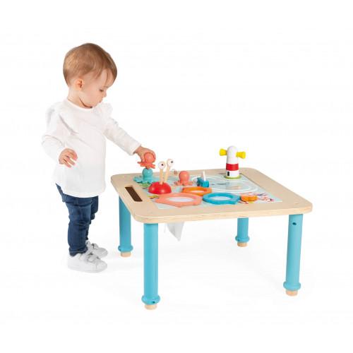 Table d'activités évolutive en bois, plateau double face, jeux d'éveil, pieds réglables, pour enfant dès 18 mois JANOD