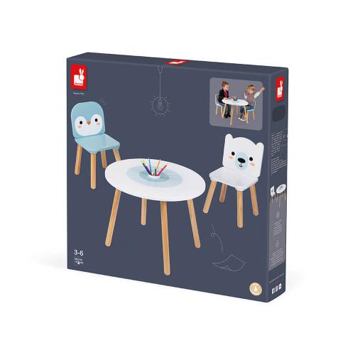 Table et 2 chaises Banquise en bois, meuble décoration, bureau chambre, dessin, animaux, pour enfant à partir de 3 ans JANOD
