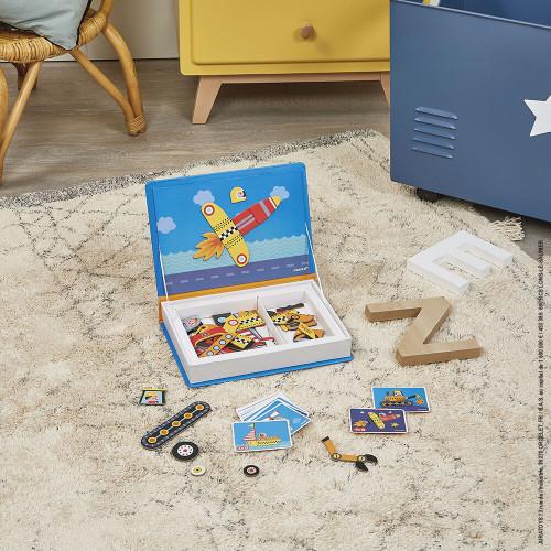 Magnéti'book bolides, 50 magnets, magnétique, aimants, véhicules, éveil motricité enfant à partir de 3 ans JANOD