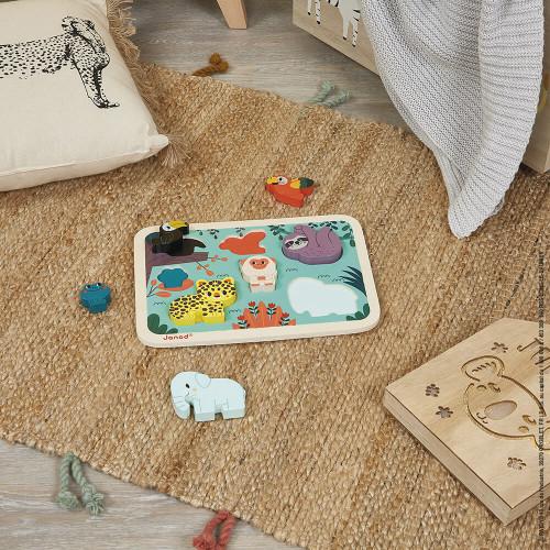 Puzzle Chunky en bois FSC Jungle partenariat WWF, 7 pièces, développe la dextérité, prise en main facile, premier âge, pour enfa