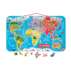 Magnetic World Map Puzzle French Version 92 pieces (wood) - In French Only