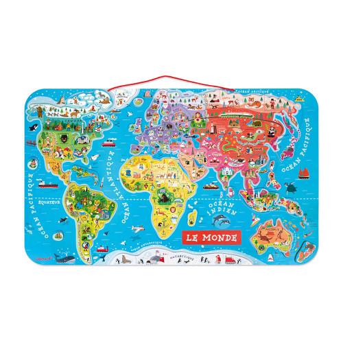 Puzzle Monde Magnétique en bois 92 pièces carte géographie enfant à partir de 7 ans
