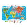 Magnetische Landkarte Die Welt Italienisch 92 Teile (Holz)
