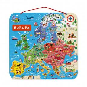 Carte d'Europe Magnétique Italien (bois)