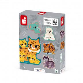 Erweiterbares Puzzle (2, 3, 4, 5, 6 Teile) zum Thema Tiere - WWF®-Partnerschaft